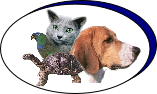 Picture of Clinic logo showing dog, cat , bird and a turtle.